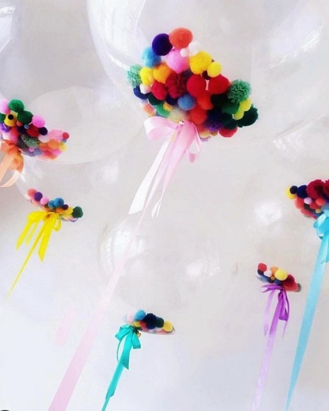 Bubble Balloons With Pom Poms